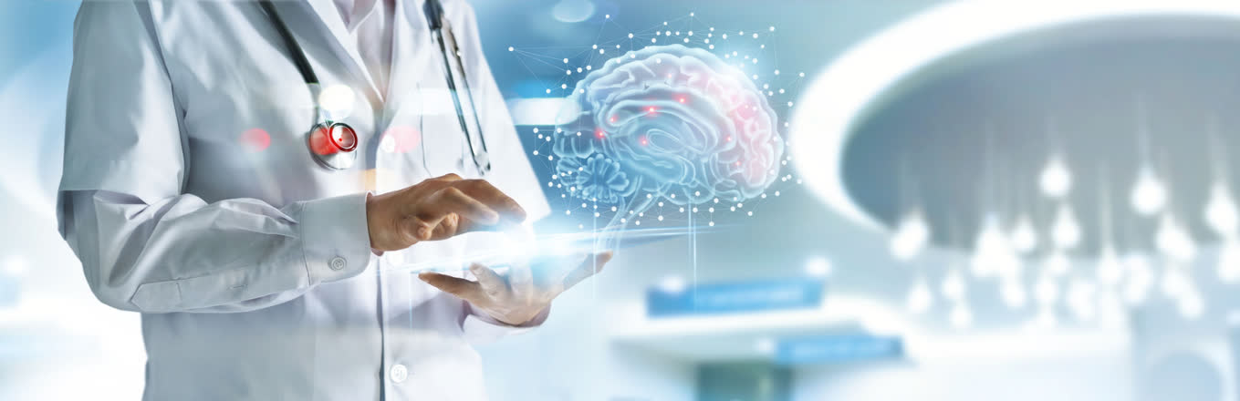 Scientists with a NeuroNation tablet and a virtual brain